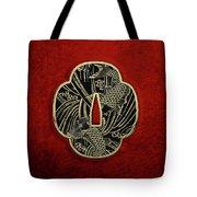 Japanese Katana Tsuba - Golden Twin Koi On Black Steel Over Red Velvet Tote Bag