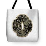 Japanese Katana Tsuba - Golden Twin Koi On Black Steel Over White Leather Tote Bag