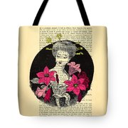 Japanese Lady With Cherry Blossoms Tote Bag