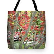 Japanese Maple Tree And Pond Tote Bag