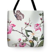 Japonica Magnolia And Butterflies Tote Bag