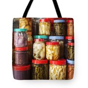 Jars Of Asian Style Pickles In Kep Market Cambodia Tote Bag
