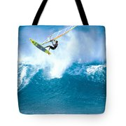Jason Flies Over A Wave Tote Bag