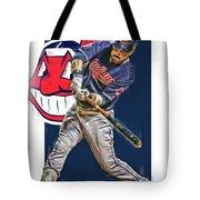 Jason Kipnis Cleveland Indians Oil Art Tote Bag
