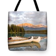 Jasper Lake Canoes Tote Bag