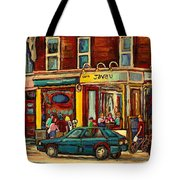 Java U Coffee Shop Montreal Painting By Streetscene Specialist Artist Carole Spandau Tote Bag