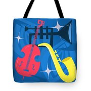 Jazz Composition With Bass, Saxophone And Trumpet Tote Bag