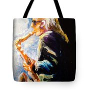 Jazz Man Tote Bag by Karen  Ferrand Carroll