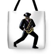 Jazz Musician Playing Saxophone Scratchboard Tote Bag
