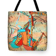 Jazzy Sax Tote Bag
