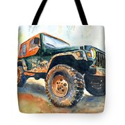 Jeep Wrangler Watercolor Tote Bag
