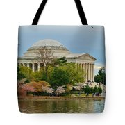 Jefferson Memorial, Springtime In Dc Is When Things Bloom, Like The Japanese Cherry Trees Tote Bag