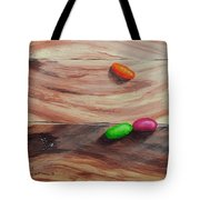 Jelly Beans On Wood Tote Bag