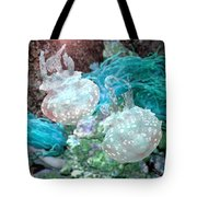 Jellyfish In Aquarium Tote Bag by Michele A Loftus
