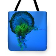 Jellyfish In Green Tote Bag