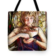 Girl And Bird Painting Tote Bag