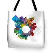 Jersey City Small World Cityscape Skyline Abstract Tote Bag