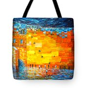 Jerusalem Wailing Wall Original Acrylic Palette Knife Painting Tote Bag