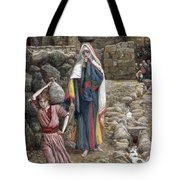 Jesus And His Mother At The Fountain Tote Bag