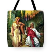 Jesus And The Woman At The Well Tote Bag