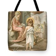 Jesus As A Boy Playing With Doves Tote Bag by John Lawson