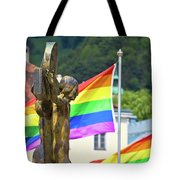 Jesus Christ Crucifixion And Gay Pride Flags View Tote Bag