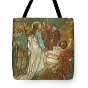 Jesus In Front Of Pilate Tote Bag