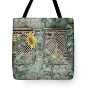 Jesus Looking Through A Lattice With Sunflowers Tote Bag