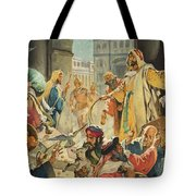 Jesus Removing The Money Lenders From The Temple Tote Bag by James Edwin McConnell