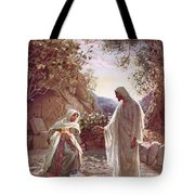 Jesus Revealing Himself To Mary Magdalene Tote Bag by William Brassey Hole