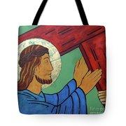 Jesus Takes Up His Cross Tote Bag
