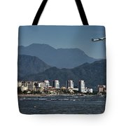Jet Plane Taking Off From Puerto Vallarta Airport With Pacific O Tote Bag
