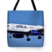 jetBlue Airlines plane in flight Tote Bag