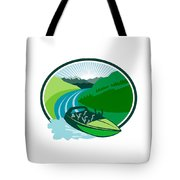 Jetboat River Canyon Mountain Oval Retro Tote Bag
