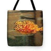 Jewel Drops - Orange Chrysanthemum Bloom Floating In A Fountain Tote Bag