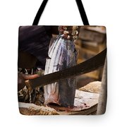 Jeweled Hand Skinning Fish Tote Bag
