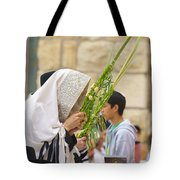 Jewish Sunrise Prayers At The Western Wall, Israel 6 Tote Bag