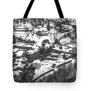 Jim Thorpe Pennsylvania In Winter In Black And White Tote Bag