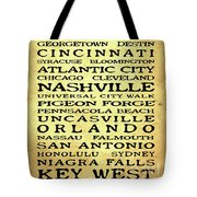 Jimmy Buffett Margaritaville Locations Black Font On Yellow Brown Texture Tote Bag