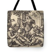 Job Conversing With His Friends Tote Bag