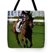 Jockey In Purple And White Riding Racehorse Tote Bag