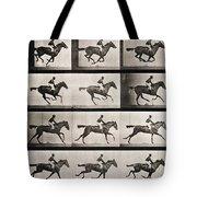 Jockey On A Galloping Horse Tote Bag