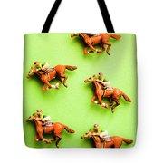 Jockeys And Horses Tote Bag