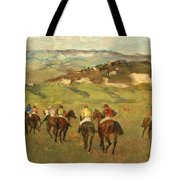 Jockeys On Horseback Before Distant Hills Tote Bag by Edgar Degas