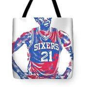 Joel Embiid Philadelphia Sixers Pixel Art 10 Tote Bag