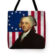 John Adams And The American Flag Tote Bag