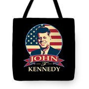 John F Kennedy American Banner Pop Art Tote Bag