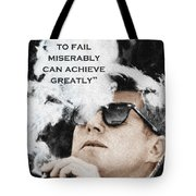 John F Kennedy Cigar And Sunglasses 3 And Quote Tote Bag