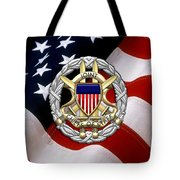 Joint Chiefs Of Staff - J C S Identification Badge Over U. S. Flag Tote Bag