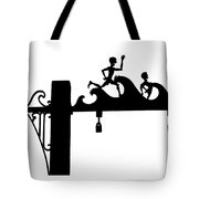 Jones Beach Silhouette Sign Photograph - Kids At The Beach Tote Bag
